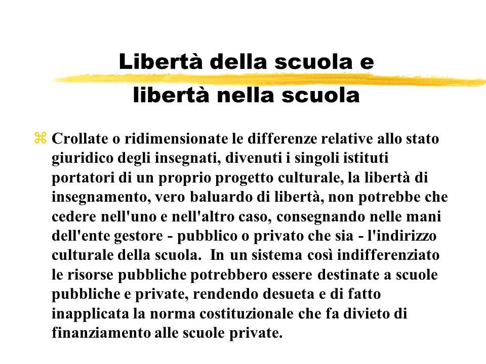Libertà della scuola e libertà nella scuola zCrollate o ridimensionate le differenze relative allo stato giuridico degli insegnati, divenuti i singoli
