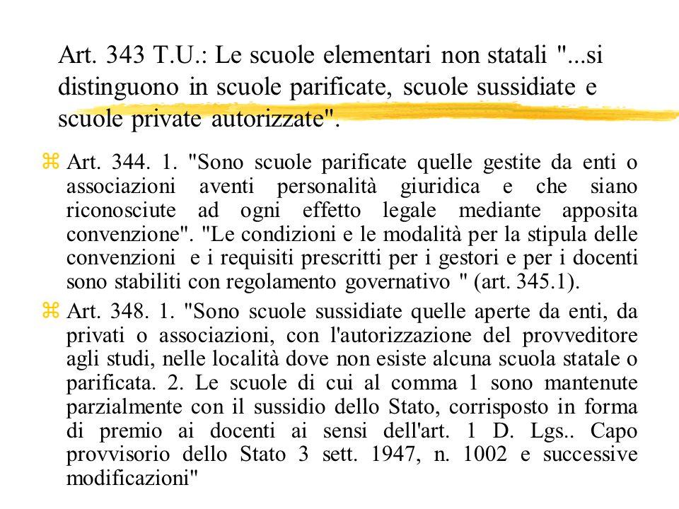 Art. 343 T.U.: Le scuole elementari non statali
