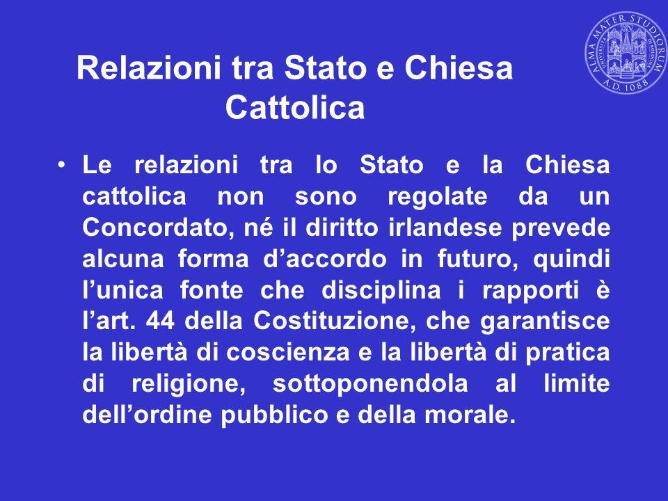 Relazioni tra Stato e Chiesa Cattolica Le relazioni tra lo Stato e la Chiesa cattolica non sono regolate da un Concordato, né il diritto irlandese pre
