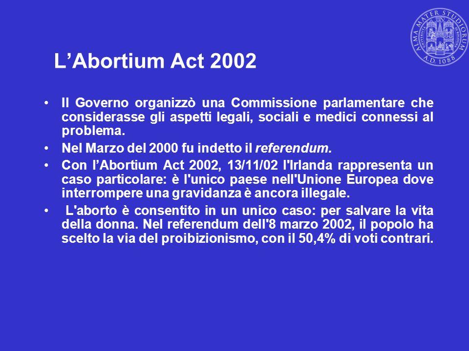 LAbortium Act 2002 Il Governo organizzò una Commissione parlamentare che considerasse gli aspetti legali, sociali e medici connessi al problema. Nel M