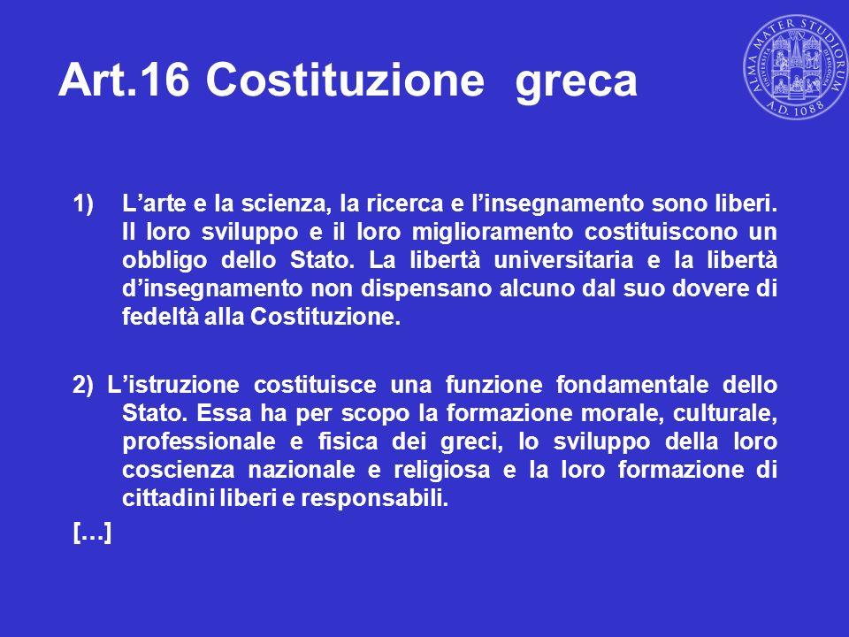 Art.16 Costituzione greca 1)Larte e la scienza, la ricerca e linsegnamento sono liberi. Il loro sviluppo e il loro miglioramento costituiscono un obbl