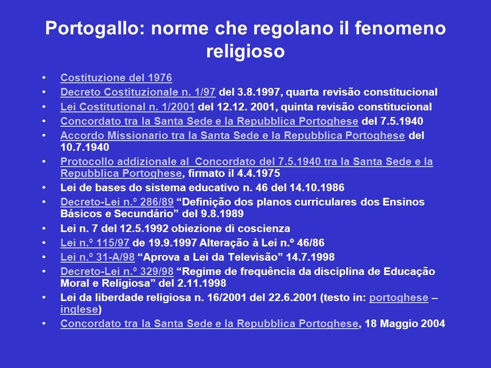 Portogallo: norme che regolano il fenomeno religioso Costituzione del 1976 Decreto Costituzionale n. 1/97 del 3.8.1997, quarta revisão constitucionalD