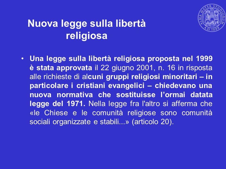 Nuova legge sulla libertà religiosa Una legge sulla libertà religiosa proposta nel 1999 è stata approvata il 22 giugno 2001, n. 16 in risposta alle ri