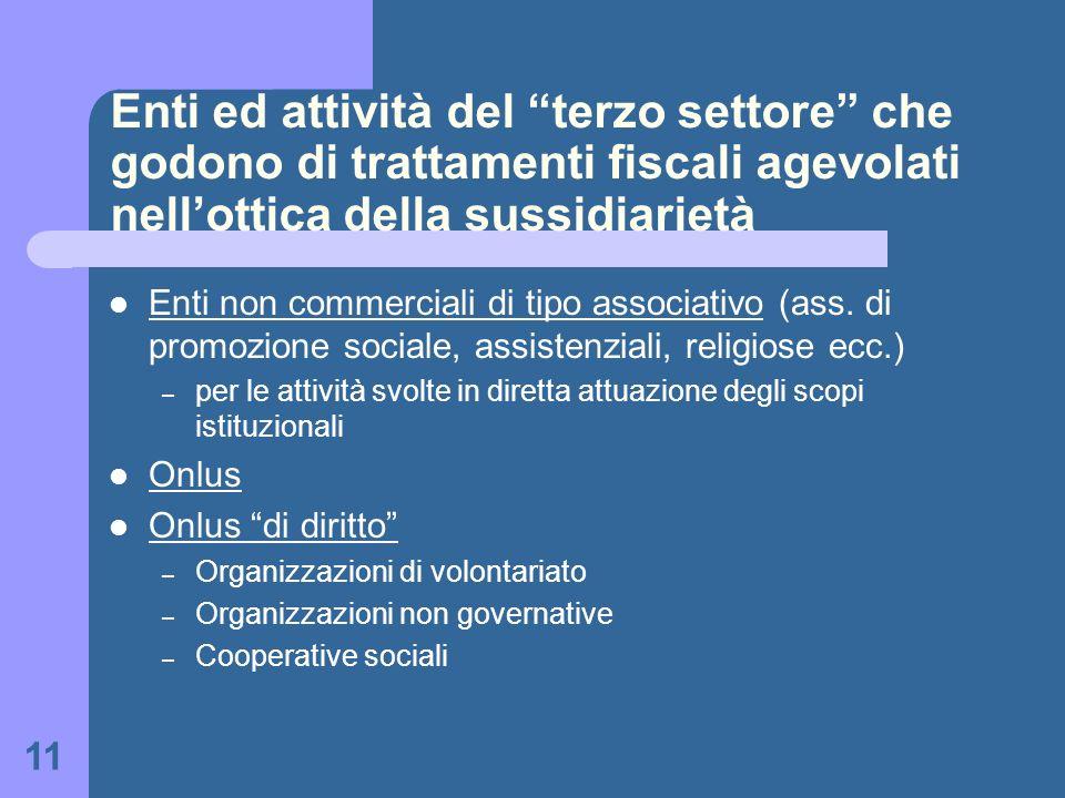 11 Enti ed attività del terzo settore che godono di trattamenti fiscali agevolati nellottica della sussidiarietà Enti non commerciali di tipo associat