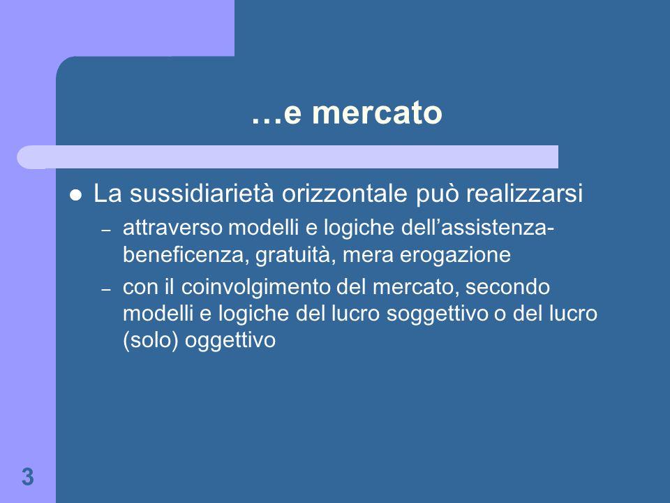 3 …e mercato La sussidiarietà orizzontale può realizzarsi – attraverso modelli e logiche dellassistenza- beneficenza, gratuità, mera erogazione – con