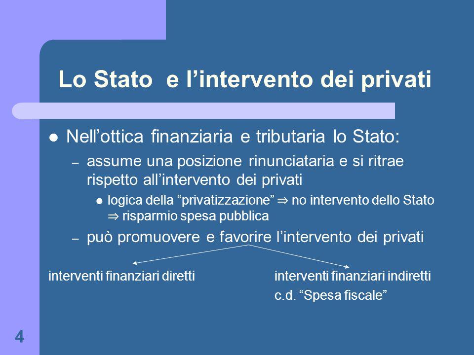 4 Lo Stato e lintervento dei privati Nellottica finanziaria e tributaria lo Stato: – assume una posizione rinunciataria e si ritrae rispetto allinterv