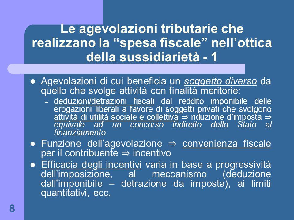 8 Le agevolazioni tributarie che realizzano la spesa fiscale nellottica della sussidiarietà - 1 Agevolazioni di cui beneficia un soggetto diverso da q