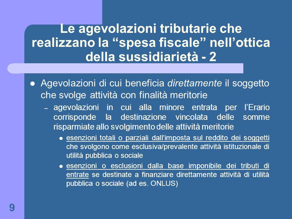 9 Le agevolazioni tributarie che realizzano la spesa fiscale nellottica della sussidiarietà - 2 Agevolazioni di cui beneficia direttamente il soggetto