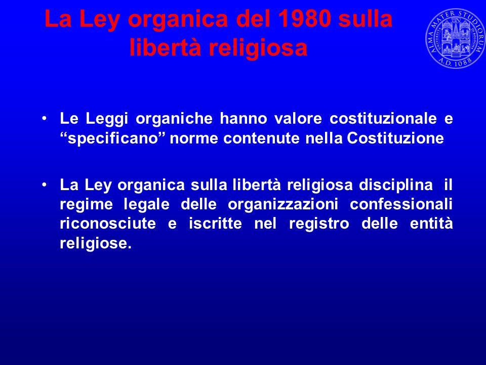 I soggetti della Ley organica del 1980 La Ley organica de libertad religiosa allart.