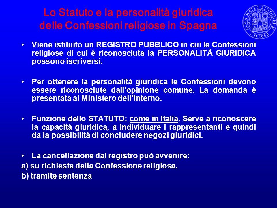Lo Statuto e la personalità giuridica delle Confessioni religiose in Spagna Viene istituito un REGISTRO PUBBLICO in cui le Confessioni religiose di cu