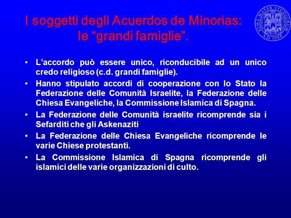 I soggetti degli Acuerdos de Minorias: le grandi famiglie. Laccordo può essere unico, riconducibile ad un unico credo religioso (c.d. grandi famiglie)