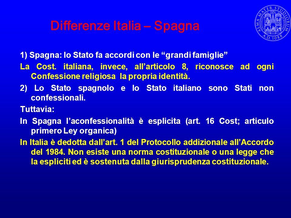 Differenze Italia – Spagna 1) Spagna: lo Stato fa accordi con le grandi famiglie La Cost. italiana, invece, allarticolo 8, riconosce ad ogni Confessio