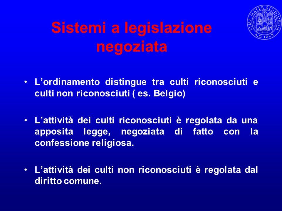 Sistemi a legislazione negoziata Lordinamento distingue tra culti riconosciuti e culti non riconosciuti ( es. Belgio) Lattività dei culti riconosciuti