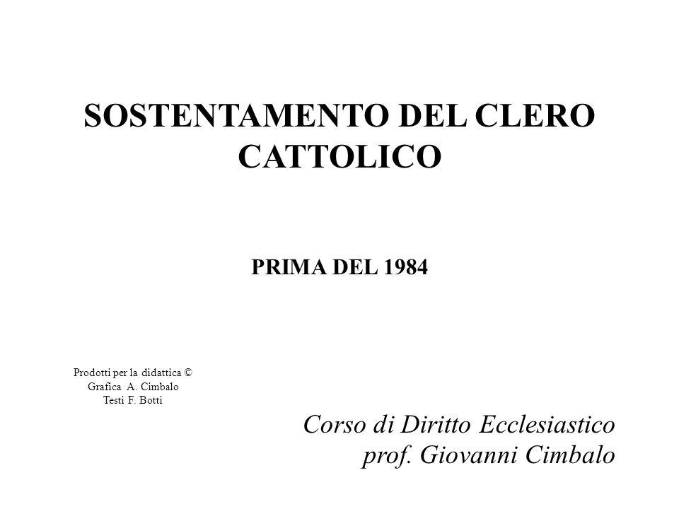 SOSTENTAMENTO DEL CLERO CATTOLICO PRIMA DEL 1984 Corso di Diritto Ecclesiastico prof.