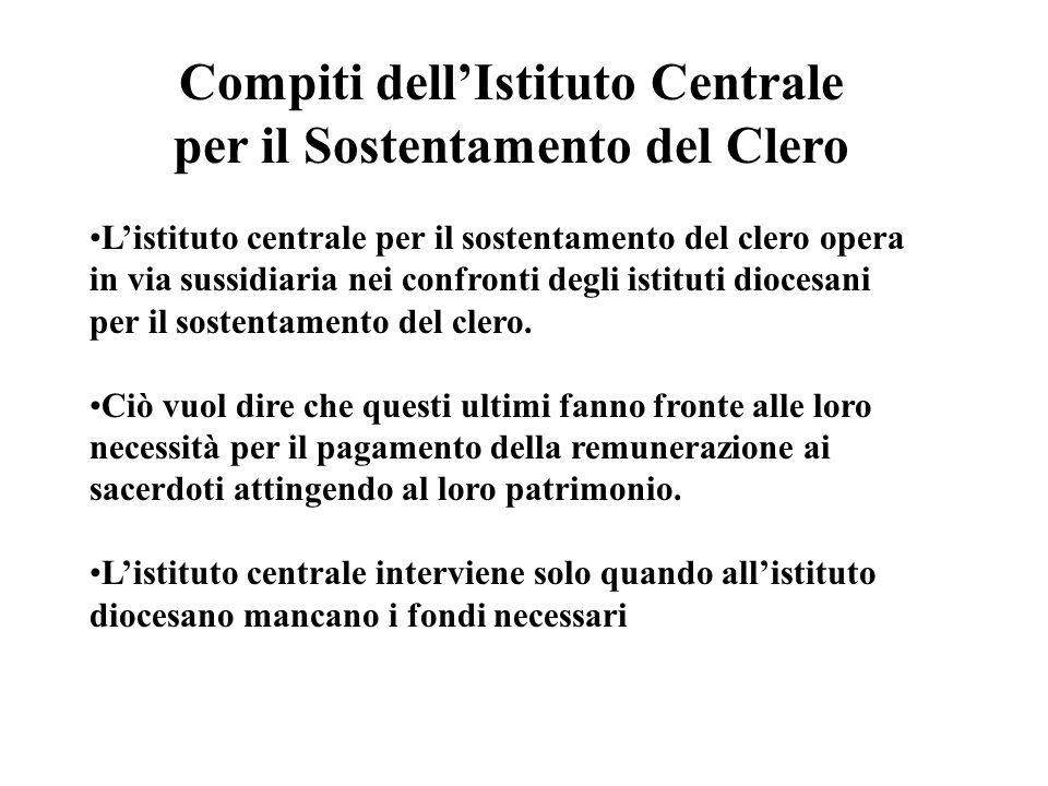Istituto Diocesano per il Sostentamento del clero Istituto Centrale per il Sostentamento del clero Intervento in via sussidiaria Remunerazione art. 25