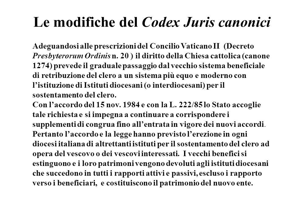 IL SOSTENTAMENTO DEL CLERO CATTOLICO Dopo laccordo di Villa Madama del 1984 e la L. 222/1985