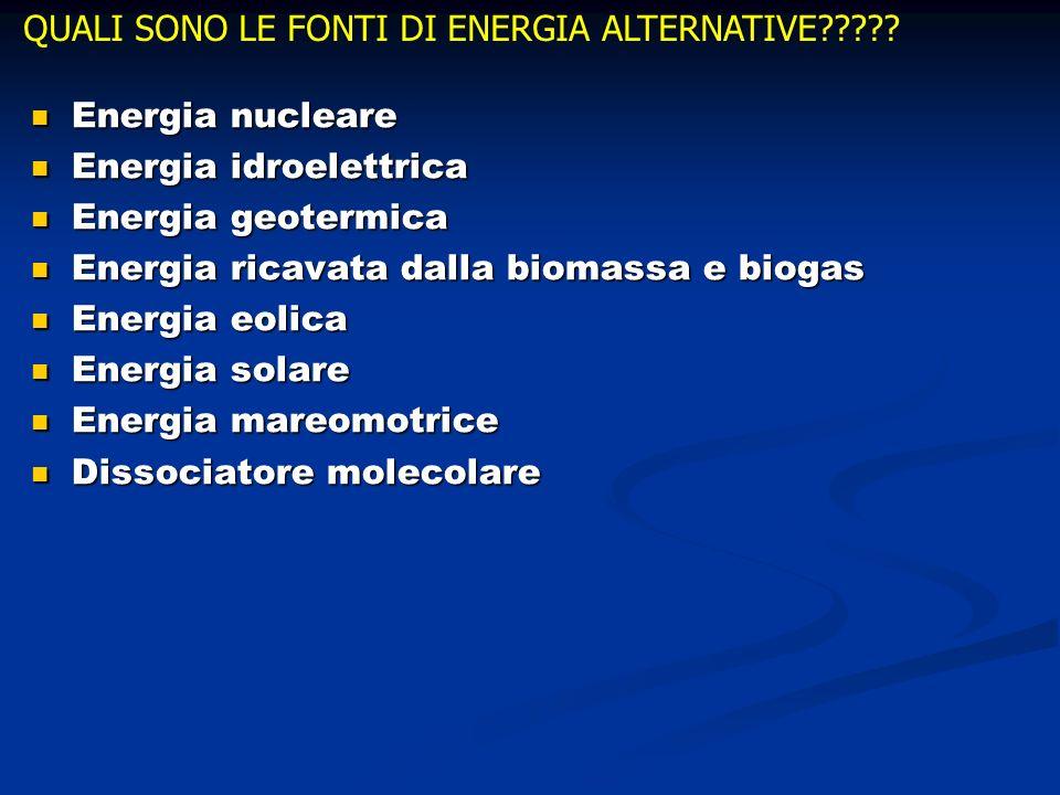 QUALI SONO LE FONTI DI ENERGIA ALTERNATIVE????? Energia nucleare Energia nucleare Energia idroelettrica Energia idroelettrica Energia geotermica Energ