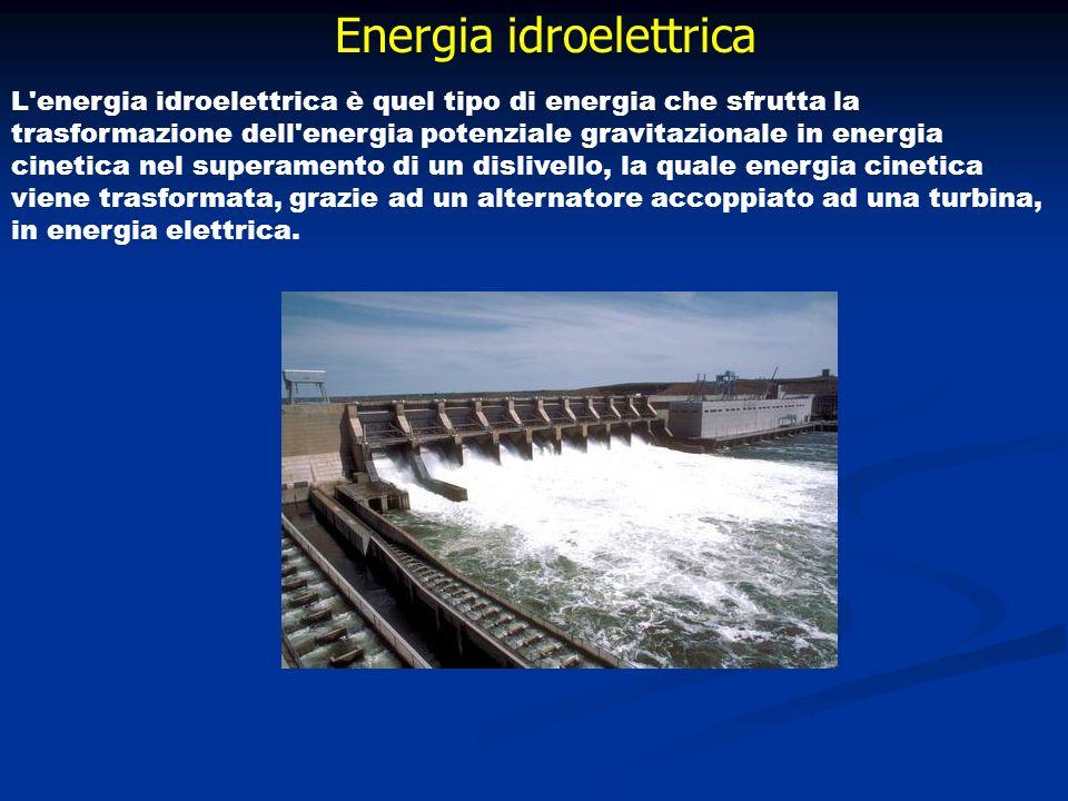 Energia idroelettrica L'energia idroelettrica è quel tipo di energia che sfrutta la trasformazione dell'energia potenziale gravitazionale in energia c