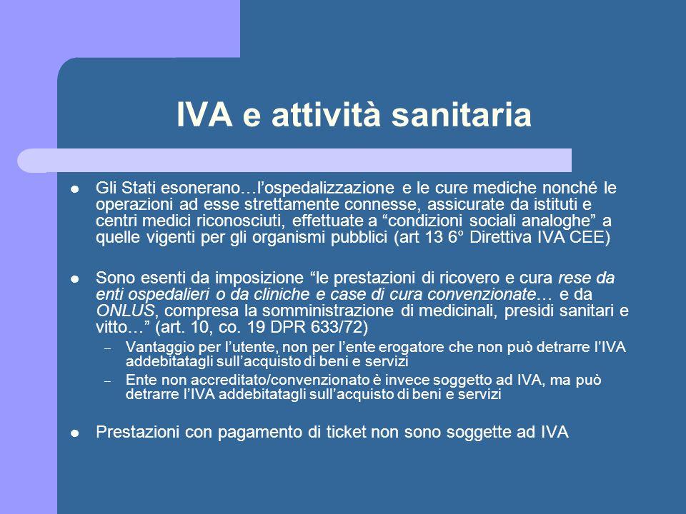 IVA e attività sanitaria Gli Stati esonerano…lospedalizzazione e le cure mediche nonché le operazioni ad esse strettamente connesse, assicurate da ist