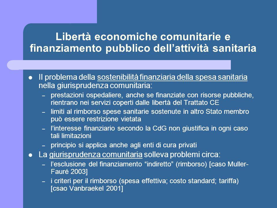 Libertà economiche comunitarie e finanziamento pubblico dellattività sanitaria Il problema della sostenibilità finanziaria della spesa sanitaria nella
