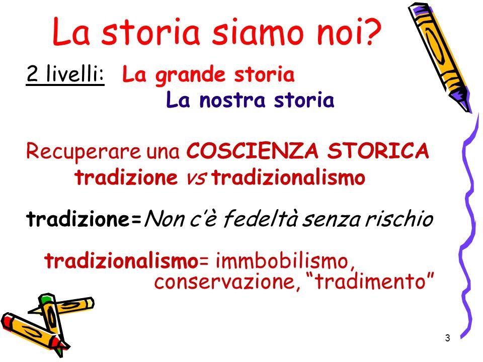 3 La storia siamo noi? 2 livelli: La grande storia La nostra storia Recuperare una COSCIENZA STORICA tradizione vs tradizionalismo tradizione=Non cè f