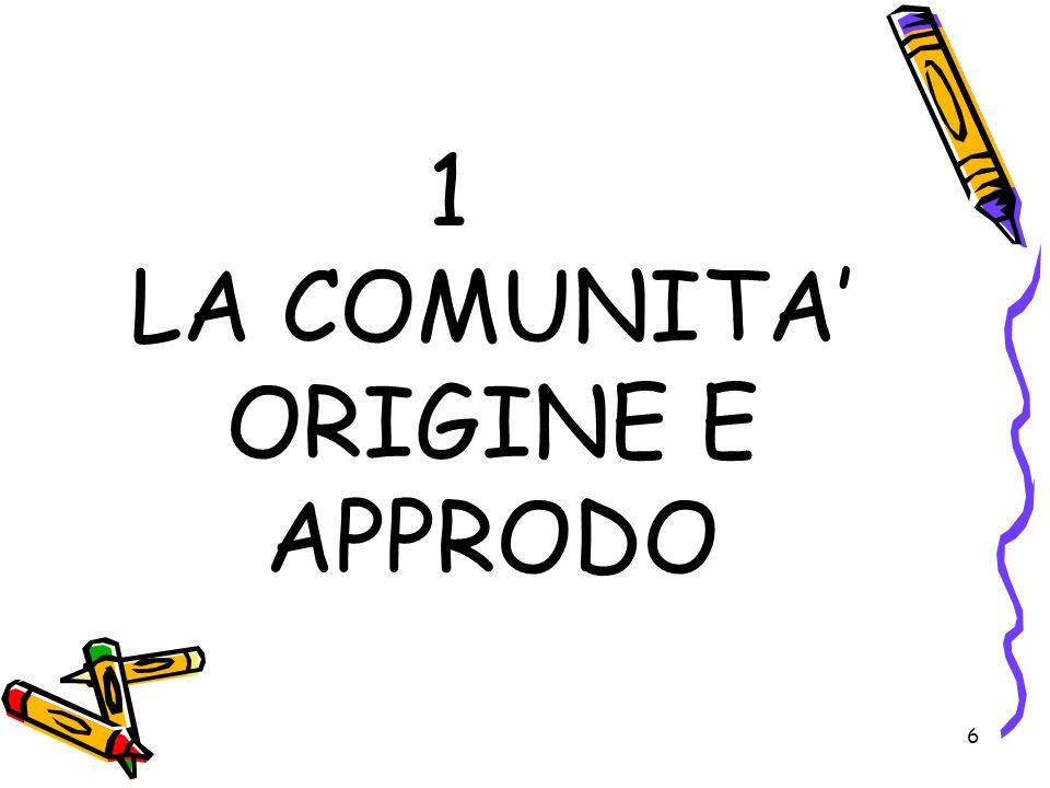 6 1 LA COMUNITA ORIGINE E APPRODO