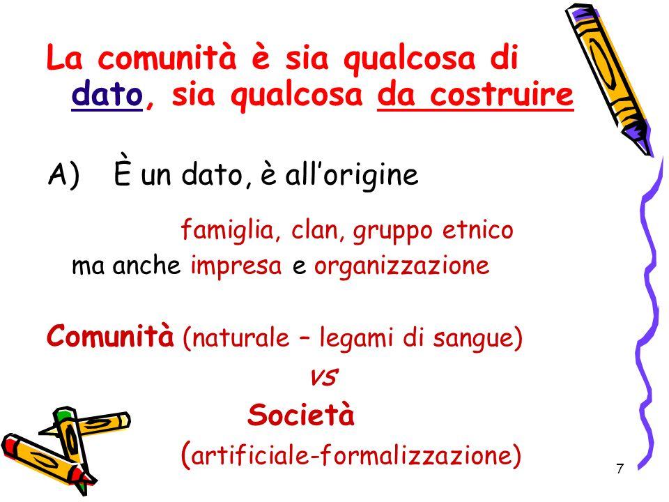 7 La comunità è sia qualcosa di dato, sia qualcosa da costruire A) È un dato, è allorigine famiglia, clan, gruppo etnico ma anche impresa e organizzaz