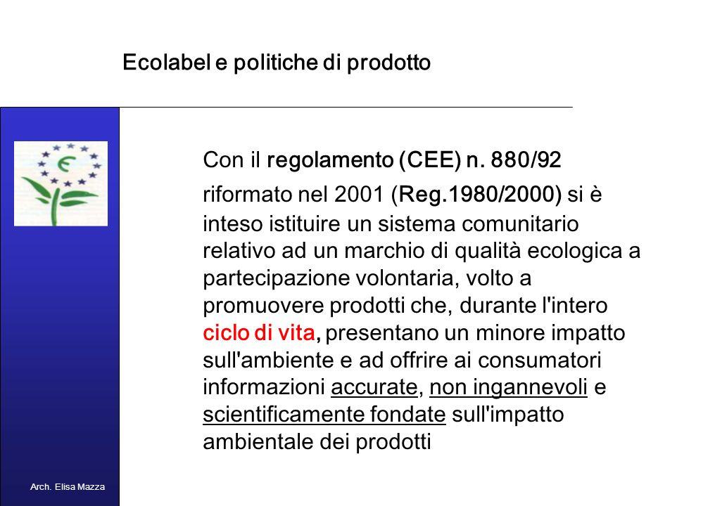 MANCUSO 2005 Ecolabel e politiche di prodotto Lecolabelling è uno degli strumenti di politica ambientale e industriale della UE volto ad incentivare la presenza sul mercato europeo di prodotti con minor impatto ambientale Arch.