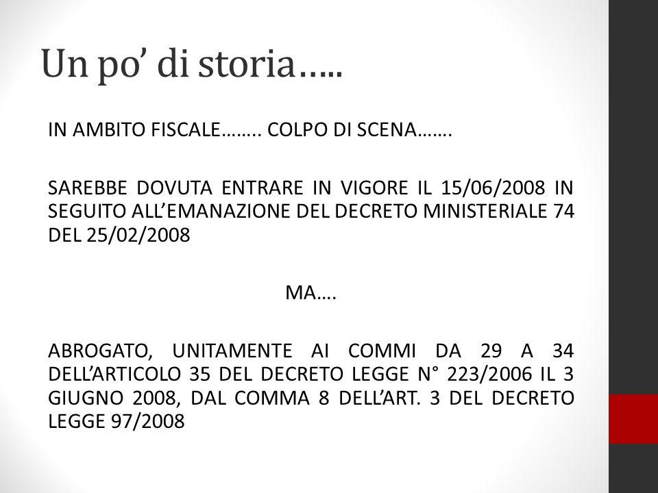 Un po di storia….. UNICO SUPERSTITE: IL COMMA 28 DELLART. 35 DEL DECRETO LEGGE 223/2006