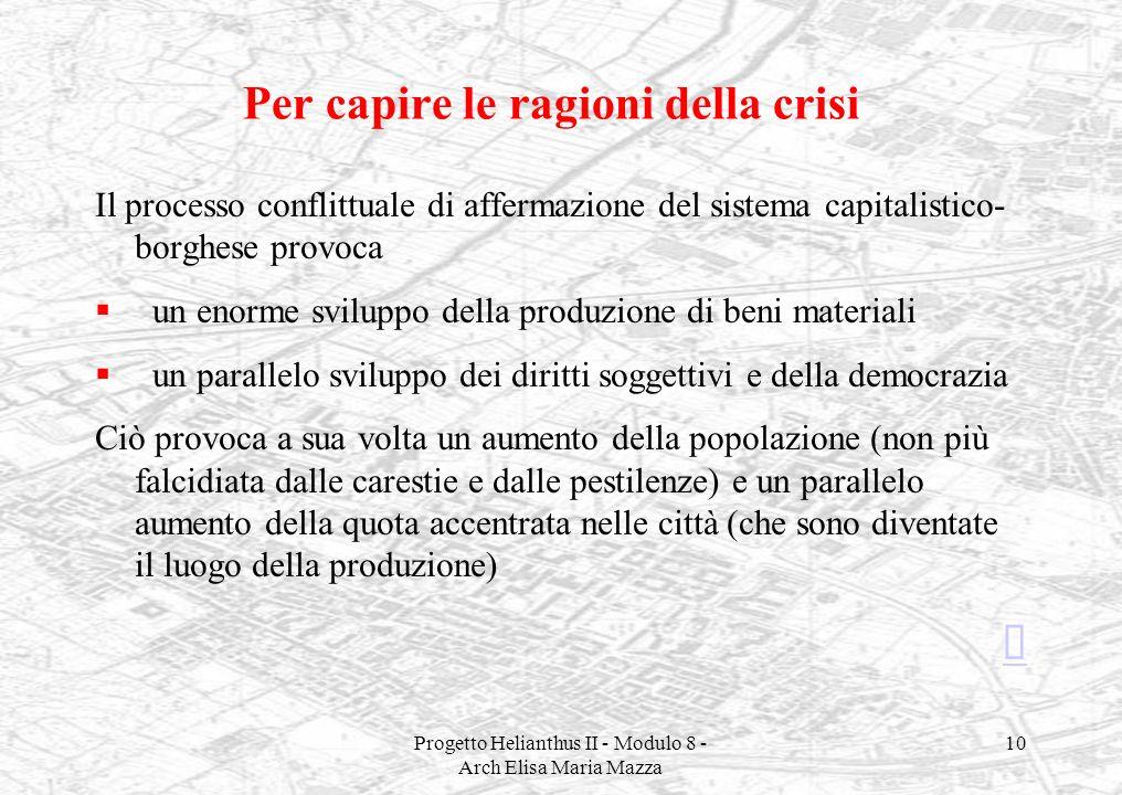 Progetto Helianthus II - Modulo 8 - Arch Elisa Maria Mazza 10 Per capire le ragioni della crisi Il processo conflittuale di affermazione del sistema c