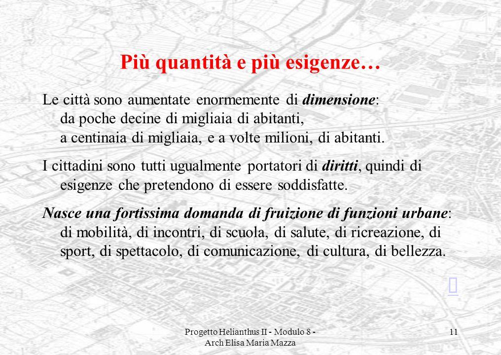 Progetto Helianthus II - Modulo 8 - Arch Elisa Maria Mazza 11 Più quantità e più esigenze… Le città sono aumentate enormemente di dimensione: da poche