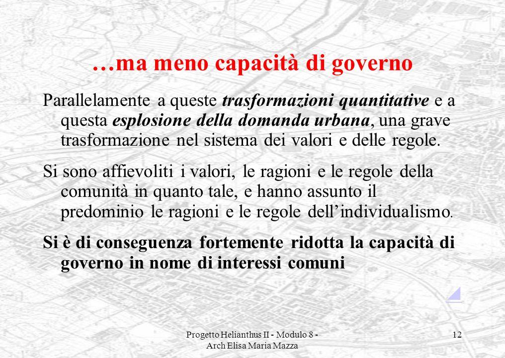Progetto Helianthus II - Modulo 8 - Arch Elisa Maria Mazza 12 …ma meno capacità di governo Parallelamente a queste trasformazioni quantitative e a que