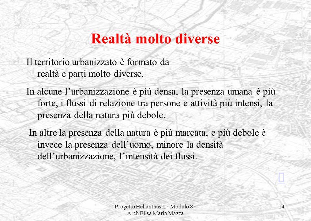 Progetto Helianthus II - Modulo 8 - Arch Elisa Maria Mazza 14 Realtà molto diverse Il territorio urbanizzato è formato da realtà e parti molto diverse