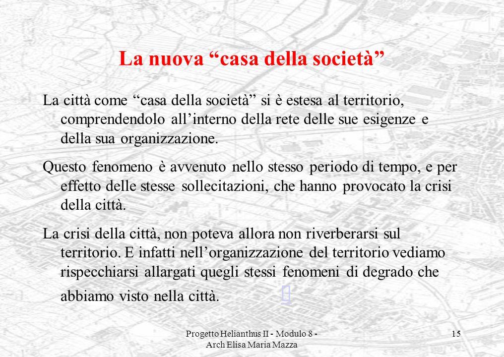 Progetto Helianthus II - Modulo 8 - Arch Elisa Maria Mazza 15 La nuova casa della società La città come casa della società si è estesa al territorio,