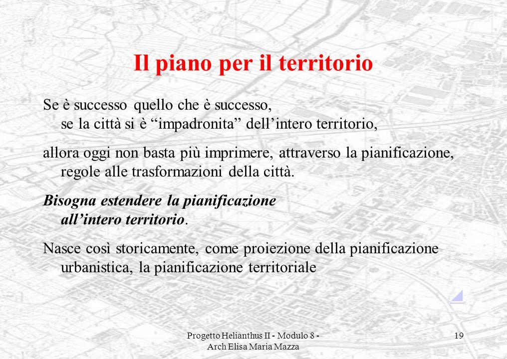 Progetto Helianthus II - Modulo 8 - Arch Elisa Maria Mazza 19 Il piano per il territorio Se è successo quello che è successo, se la città si è impadro