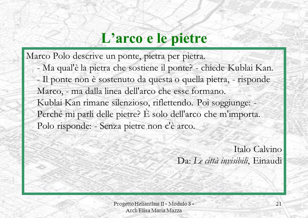 Progetto Helianthus II - Modulo 8 - Arch Elisa Maria Mazza 21 Larco e le pietre Marco Polo descrive un ponte, pietra per pietra. - Ma qual'è la pietra