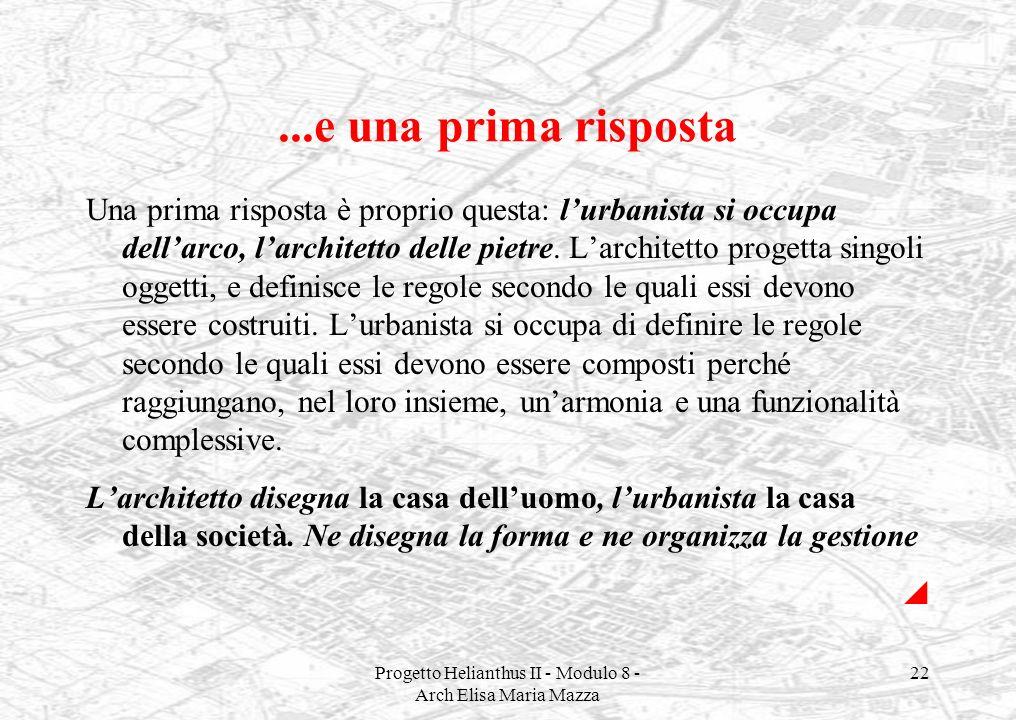 Progetto Helianthus II - Modulo 8 - Arch Elisa Maria Mazza 22...e una prima risposta Una prima risposta è proprio questa: lurbanista si occupa dellarc