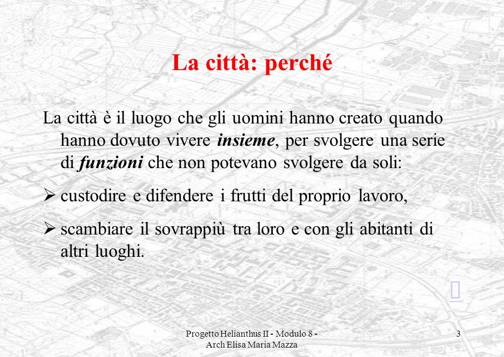 Progetto Helianthus II - Modulo 8 - Arch Elisa Maria Mazza 3 La città: perché La città è il luogo che gli uomini hanno creato quando hanno dovuto vive