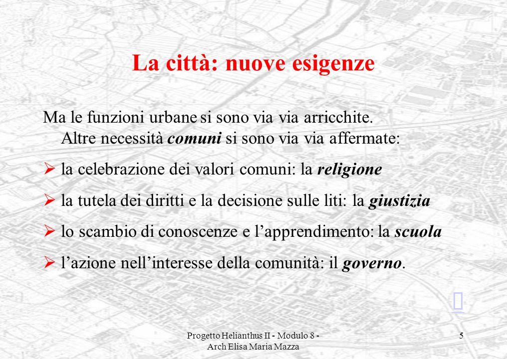 Progetto Helianthus II - Modulo 8 - Arch Elisa Maria Mazza 5 La città: nuove esigenze Ma le funzioni urbane si sono via via arricchite. Altre necessit