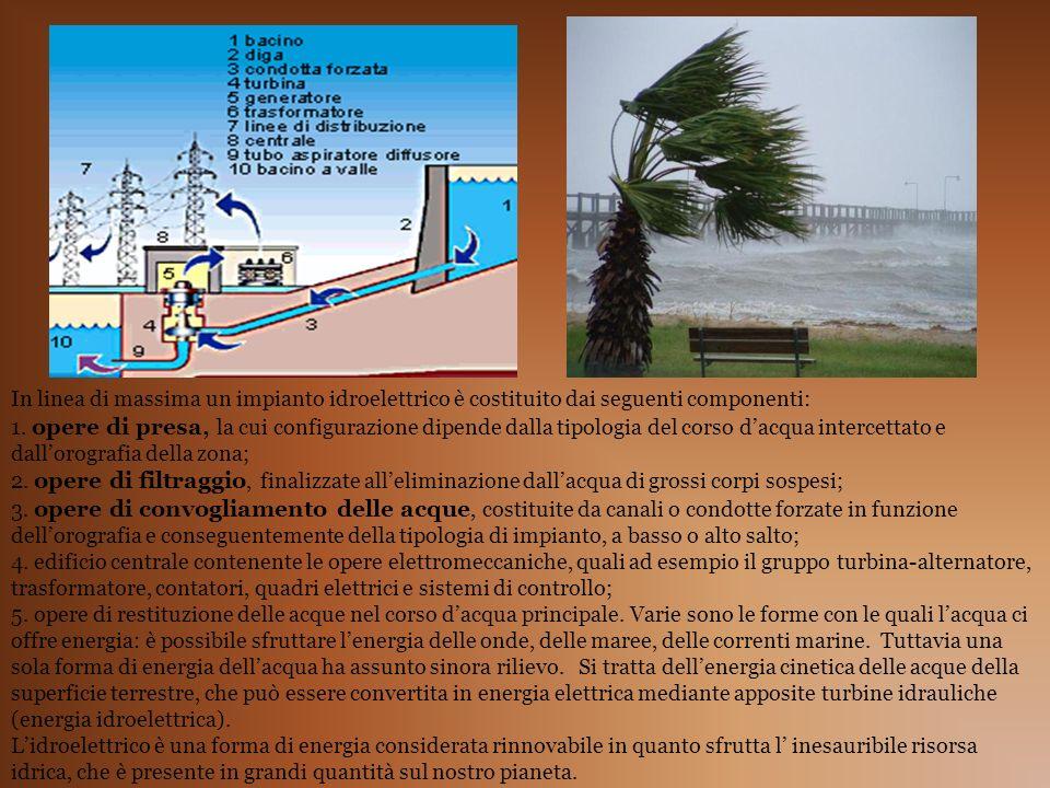 In linea di massima un impianto idroelettrico è costituito dai seguenti componenti: 1. opere di presa, la cui configurazione dipende dalla tipologia d