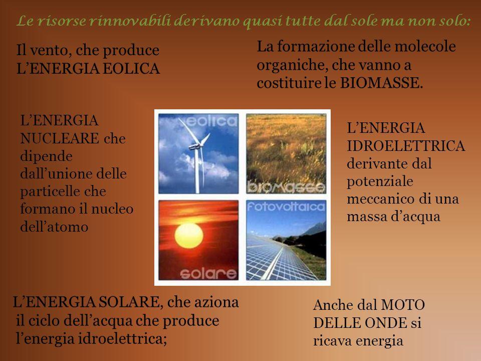 Le risorse rinnovabili derivano quasi tutte dal sole ma non solo: Il vento, che produce LENERGIA EOLICA La formazione delle molecole organiche, che va