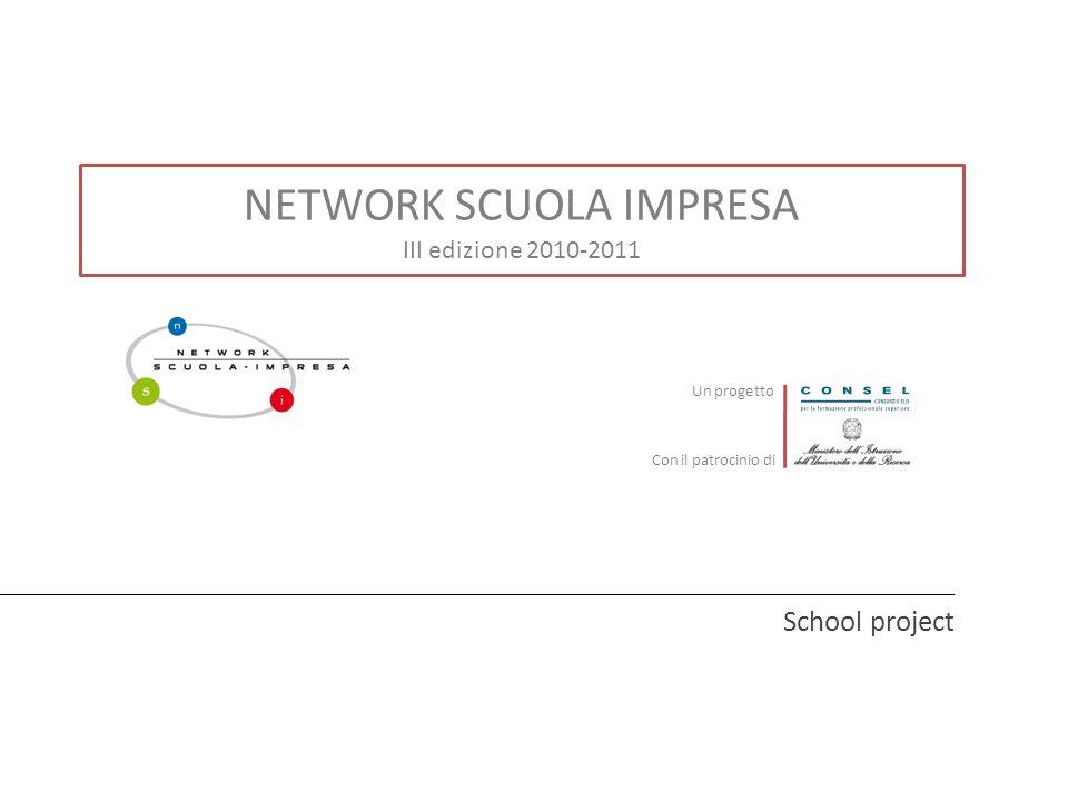 NETWORK SCUOLA IMPRESA III edizione 2010-2011 School project Con il patrocinio di Un progetto