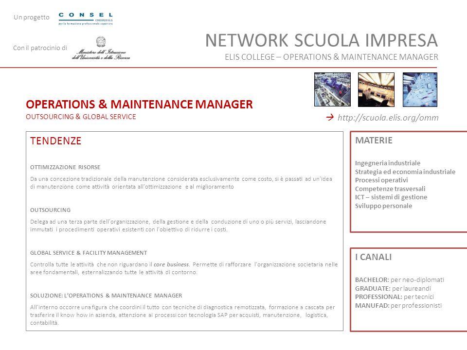 OPERATIONS & MAINTENANCE MANAGER OUTSOURCING & GLOBAL SERVICE TENDENZE OTTIMIZZAZIONE RISORSE Da una concezione tradizionale della manutenzione consid