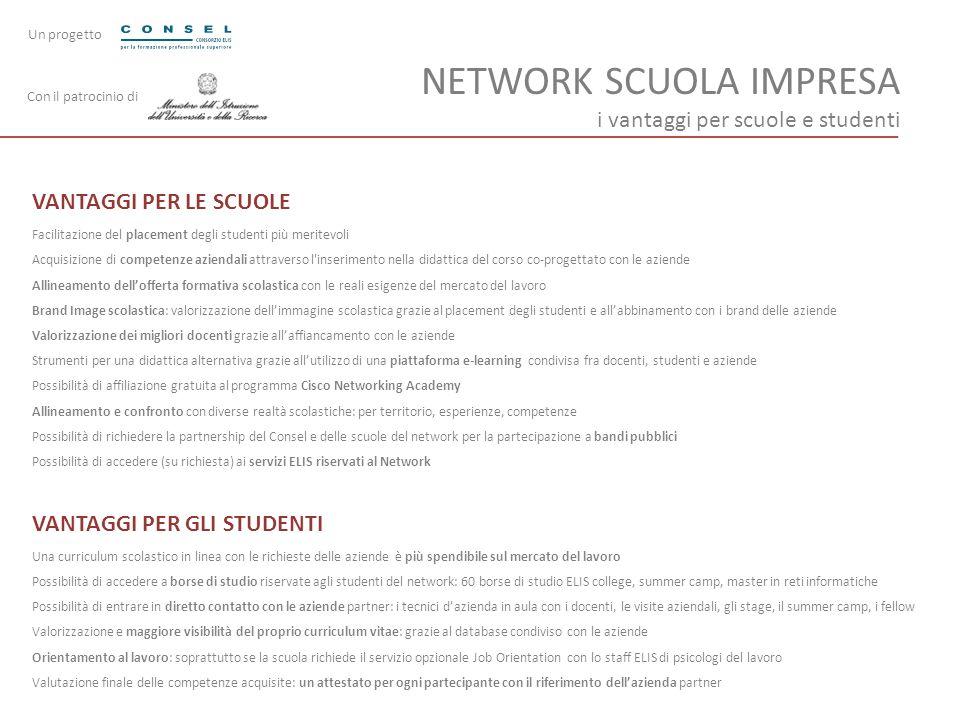 NETWORK SCUOLA IMPRESA i vantaggi per scuole e studenti VANTAGGI PER LE SCUOLE Facilitazione del placement degli studenti più meritevoli Acquisizione