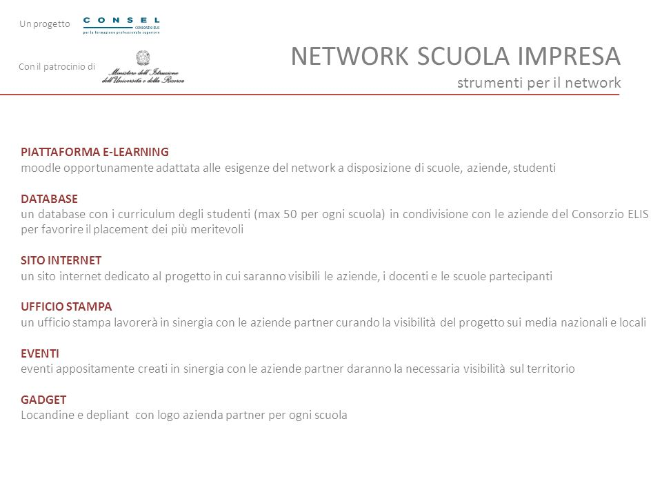 NETWORK SCUOLA IMPRESA strumenti per il network PIATTAFORMA E-LEARNING moodle opportunamente adattata alle esigenze del network a disposizione di scuo