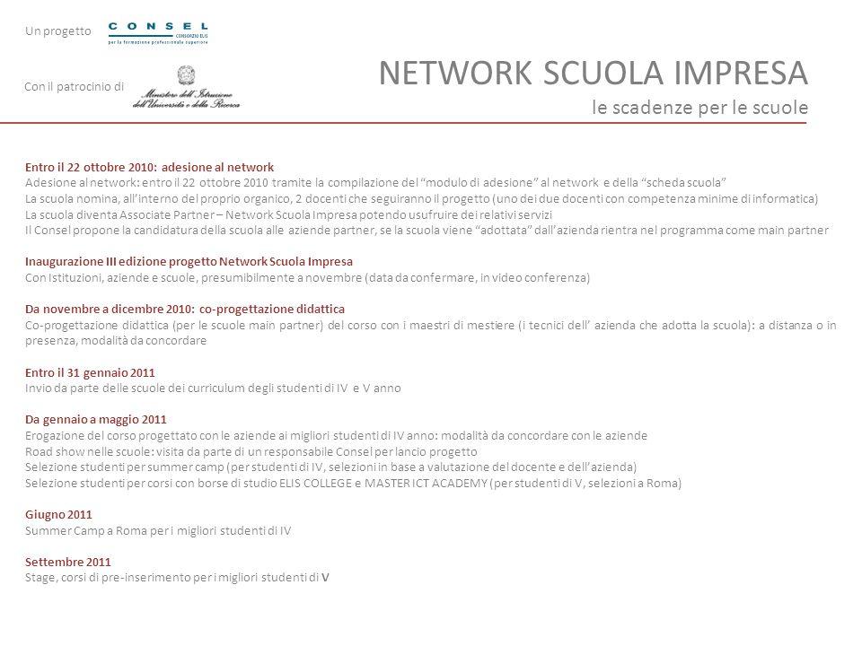 NETWORK SCUOLA IMPRESA le scadenze per le scuole Entro il 22 ottobre 2010: adesione al network Adesione al network: entro il 22 ottobre 2010 tramite l