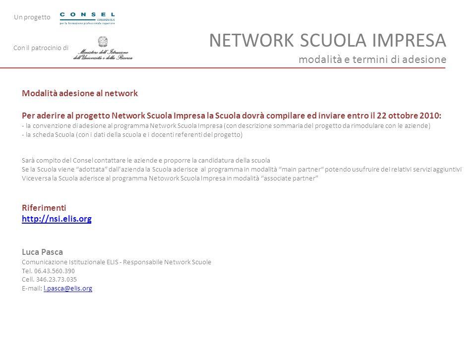 NETWORK SCUOLA IMPRESA modalità e termini di adesione Modalità adesione al network Per aderire al progetto Network Scuola Impresa la Scuola dovrà comp
