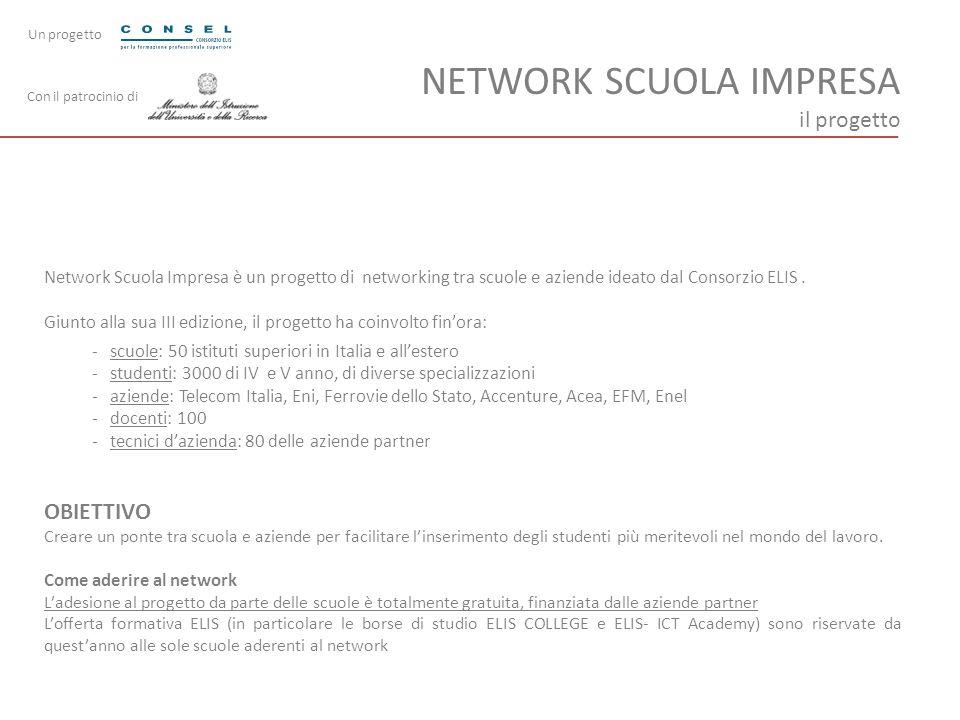 NETWORK SCUOLA IMPRESA il progetto Network Scuola Impresa è un progetto di networking tra scuole e aziende ideato dal Consorzio ELIS. Giunto alla sua