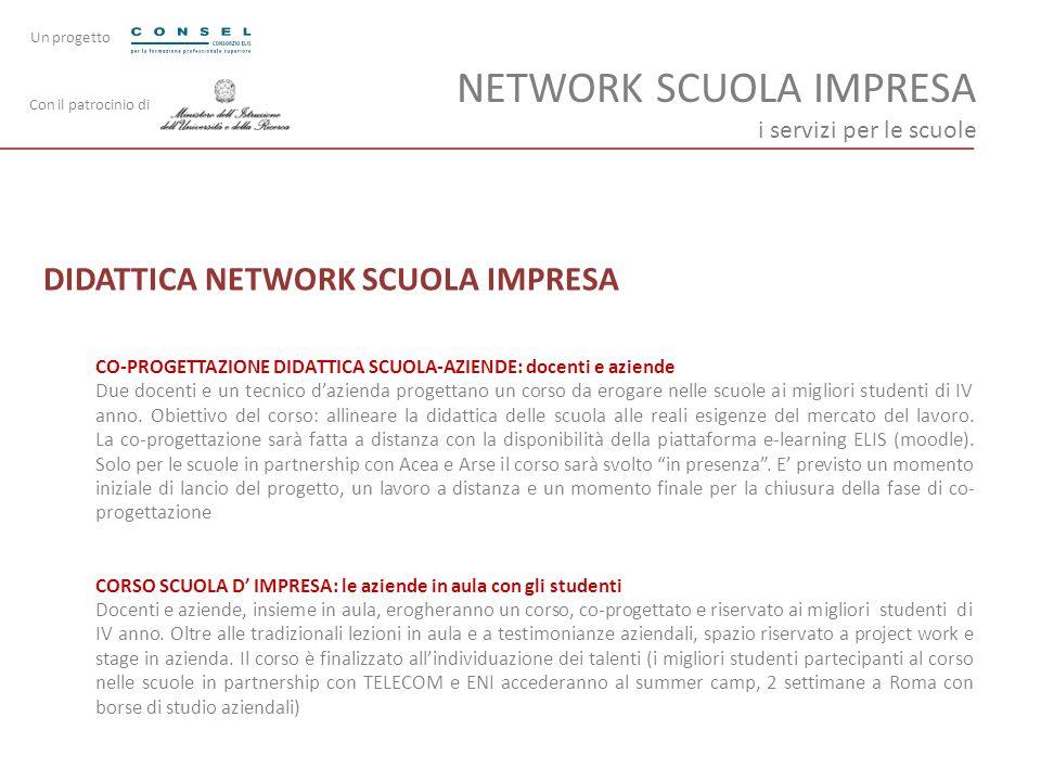 NETWORK SCUOLA IMPRESA i servizi per le scuole DIDATTICA NETWORK SCUOLA IMPRESA CO-PROGETTAZIONE DIDATTICA SCUOLA-AZIENDE: docenti e aziende Due docen