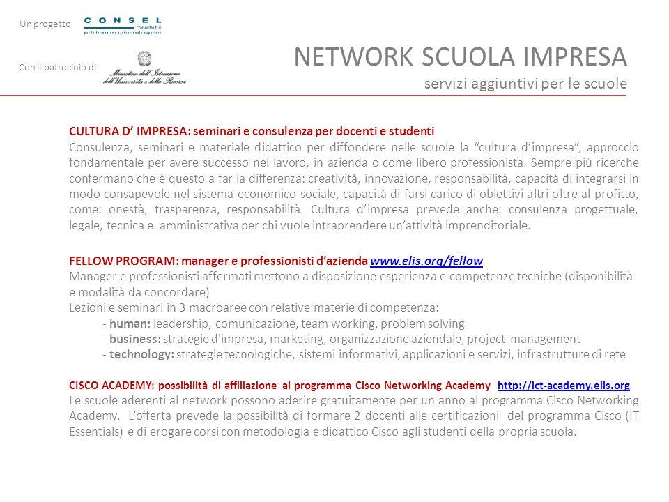 NETWORK SCUOLA IMPRESA servizi aggiuntivi per le scuole CULTURA D IMPRESA: seminari e consulenza per docenti e studenti Consulenza, seminari e materia